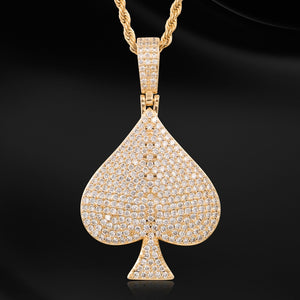 Rhinestone Spades Shape Pendant Necklace Bling Hip Hop Jewelry