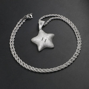 Micro Paved Iced Shiny Star Pendant Necklace For Men And Women