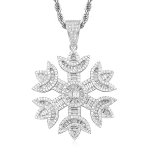 Baguette Crystal Snow Pendant Necklace- Bling Jewelry For Women