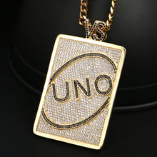 UNO Playing Card Letter Pendant Square Shape Bling Hip Hop Jewelry