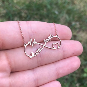 Custom Infinity Name Necklace- Heart Shaped And Thunderstorm Shaped Custom Name Necklace