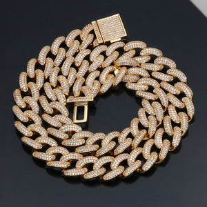 13mm Cuban Miami Brass Iced Out Necklace And Bracelet- Rhinestone Cuban Chain Bracelet Necklace Set Bling Jewelry