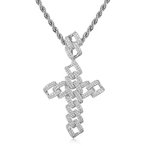 Luxury 18k Gold Plated Cross Pendant Necklace For Men