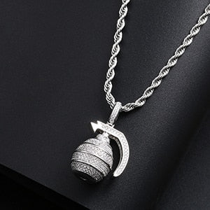 Hand Grenade Bomb Pendant Hip Hop Necklace