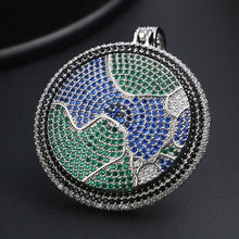 Iced Out Blue Earth Pendant Necklace Bling Hip Hop Jewelry