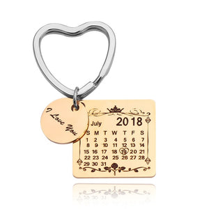 Custom Keychain With Date, Name And Engrave Text- Heart Calendar Keychain