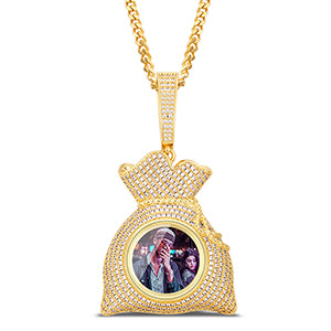 Custom Money Bag Photo Medallion Necklace
