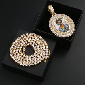 Bling Cubic Zircon Baguette Custom Photo Bound With 18K Gold Medallion Necklace