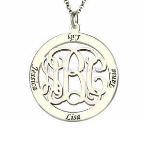 Custom Circle Monogram Necklace For Mother