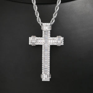 18K Gold Plated Pink Baguette Cross Pendant Necklace Bling Hip Hop Jewelry
