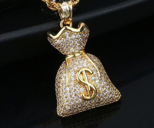 Money Bag US Dollar Pendant Bling Hip Hop Jewelry