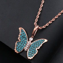 Blue Crystal Butterfly Pendant Necklace Bling Hip Hop Jewelry