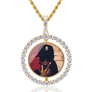 New Hot Selling Personalized Photo Rotating Double-sided Medallion Pendant necklace