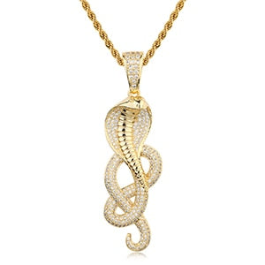 18K Gold Plated Snake Pendant Necklace Bling Hip Hop Jewelry