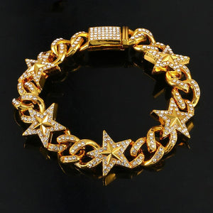 Star Miami Cuban Link Chain Bracelet- Bling Iced Out Rhinestone Bracelet