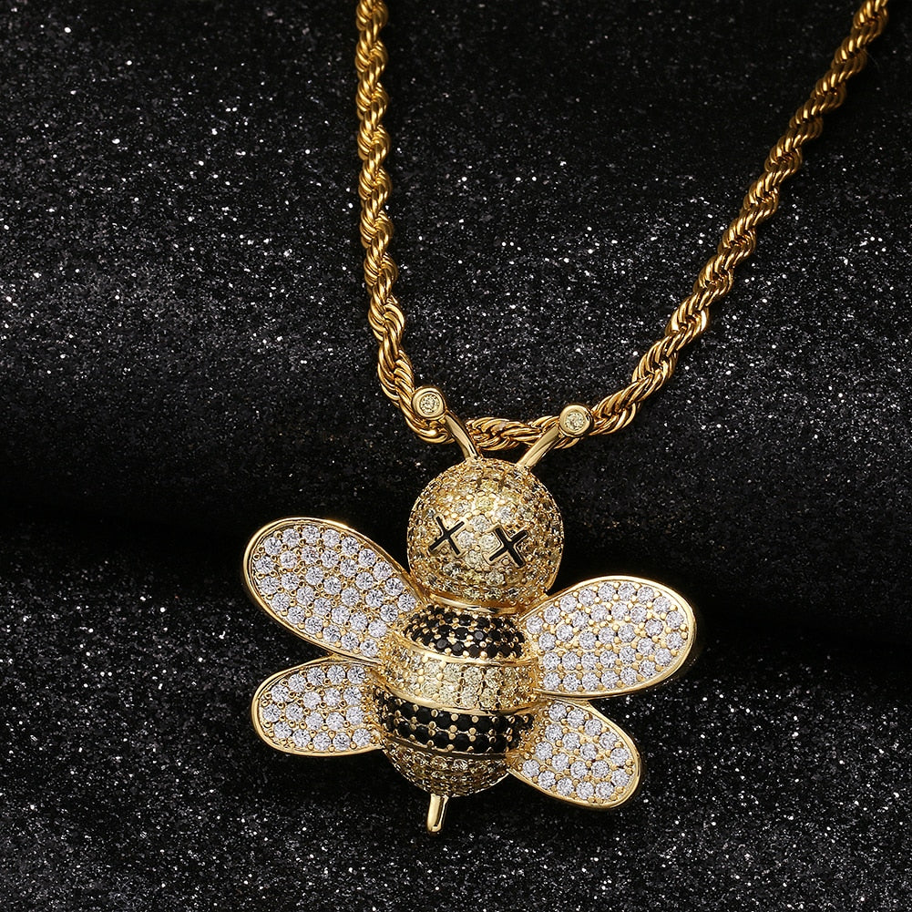Brass Lovely Bee Pendant Bling Hip Hop Jewelry