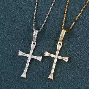 Iced Out Cross Baguette Pendant Necklace For Women