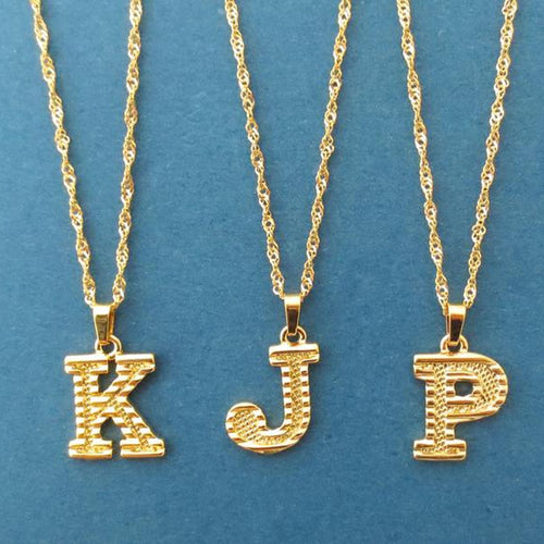 Alphabet Initial Necklace - Gold color stainless steel necklace