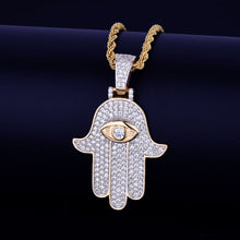 Men's Hip Hop Hamsa Hand Pendant Necklace- Evil Eye Hands Pendant Necklaces