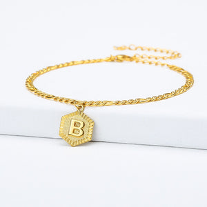 Initial Letter Anklet With Resizable Chain- Best Christmas Gifts For Girlfriend