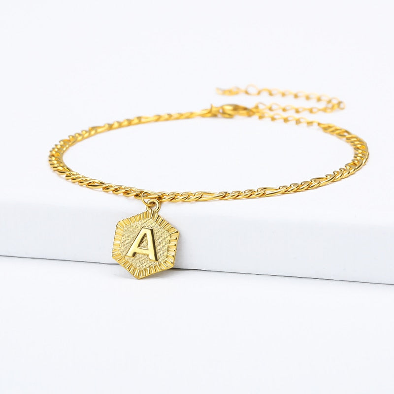 Initial Letter Anklet With Resizable Chain- Best Christmas Gifts For Mom