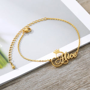 Custom Crown Name Anklet Bracelet- Christmas gifts 2020
