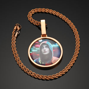 18K Gold Plated Solid Pendant Cremation Custom Photo Circle Medallion Necklace