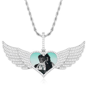 Custom Big Angel Wing Heart Shape Photo Medallion Necklace