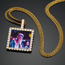 18K Gold Plating Medallion Pendant Square Custom Photo Medallion Necklace