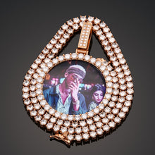 AAA Cubic Zirconia Big Pendant Custom Photo Pendant Memory Medallions Solid Hip Hop Necklace