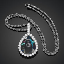 Water Drop Custom Picture Necklace Medallion- Photo Pendant