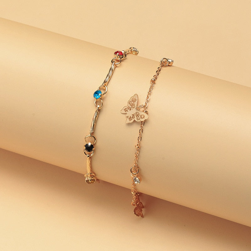 1Pair Butterfly Ankle Bracelet Set Hip Hop Zircon Crystal Anklets For Women