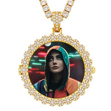 Personalized Photo Folding Medallion Necklace- 18K Gold Plated Rap Jewelry