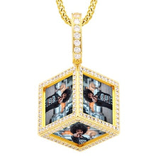 18K Gold Plating Custom Cube Pendant Photo Medallion Necklace For Men And Women