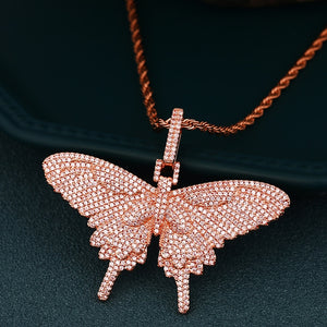 Charm Crystal Butterfly Necklace- Bling Butterfly Hip Hop Jewelry