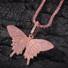 4mm Tennis Chain Butterfly Necklace- Bling Iced Out Butterfly Necklace For Women