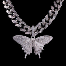 12MM Cuban Chain Necklace Womens Butterfly Necklace