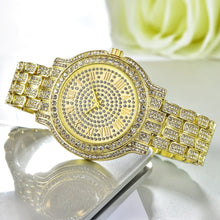 18K Gold Plated Hip Hop Bling Iced Out Men's Watch- Waterproof Rhinestone Iced Out Watch