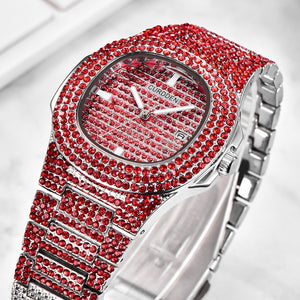 Luxury Red AAA CZ Rhinestone Iced Out Watch- Hip Hop Wrist Red Watch