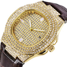 Leather Bling Iced Out Watch- AAA+ CZ Rhinestone Hip Hop Bling Watch