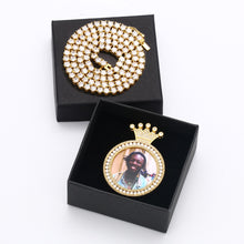 The King Personalized Photo Medallion Necklace With Crown