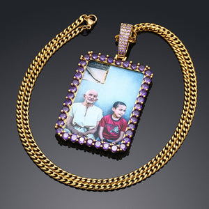 Brand New Personalized Purple Stone Rectangle Photo Medallion Necklace For Men And Women