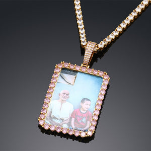 Brand New Custom Made Rectangle Photo Medallion Necklace- Personalized Memorial Photo Necklace With Custom Words, Name, Date