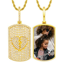 Brand New Personalized Photo Medallion Dog Tag Necklace With Glittering Broken Heart on Back