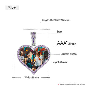 Brand New Purple Stone Personalized Heart Photo Medallion Necklace- Custom Photo Medallion Necklace With Words, Name, Date