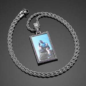 Brand New Custom Made Purple Stone Rectangle Photo Medallion Necklace