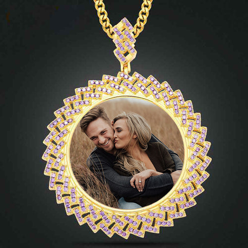 Sunflower Custom Photo Medallion Necklace