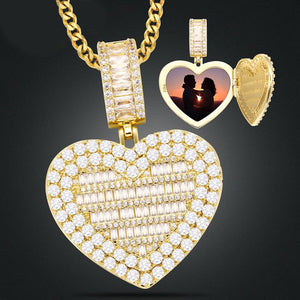 Micro Pave Cubic Zircon Heart Photo Medallion Necklace- Hip Hop Locket Pendant Necklace For Girls