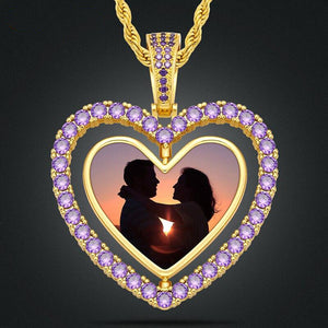 NEW Custom Made Heart Double Sided Photo Rotating Medallion Necklace