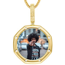18K Plated Gold Pendant Custom Photo Medallion Necklace With 8 Micro Nano Stone